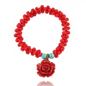 handmade red coral rose charm streth bracelet